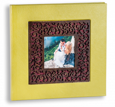 свадебная фотокнига ,обложка дерево фотовставка